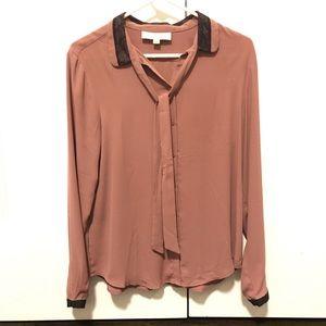 LOFT mauve long-sleeved button down blouse